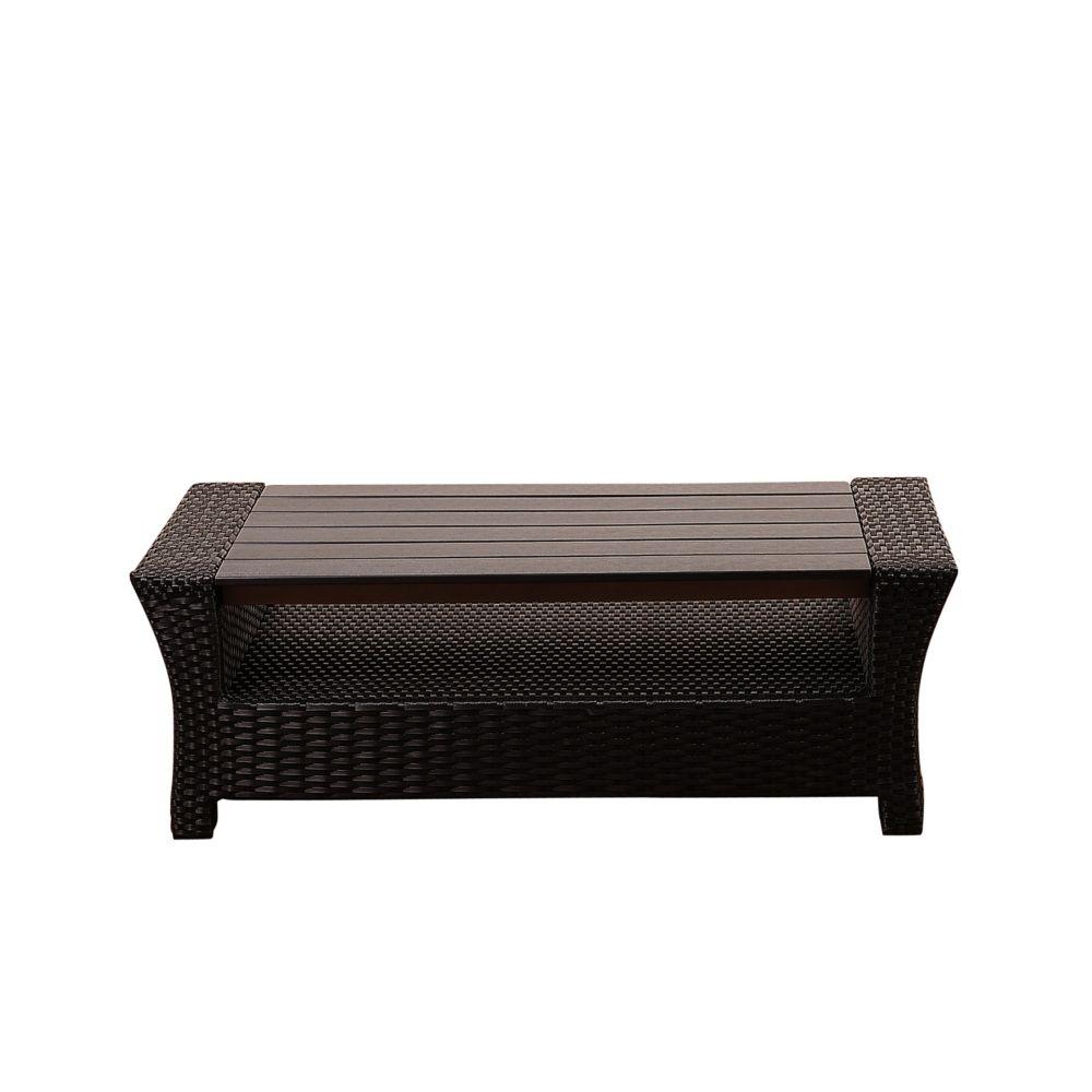 Amazonia Bradley Black Synthetic Wicker Patio Coffee Table with Plastic Wood Top