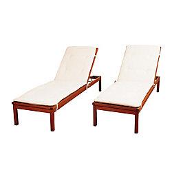 Amazonia Murano 2-Piece Eucalyptus Wheel Patio Lounger Set with White Cushions