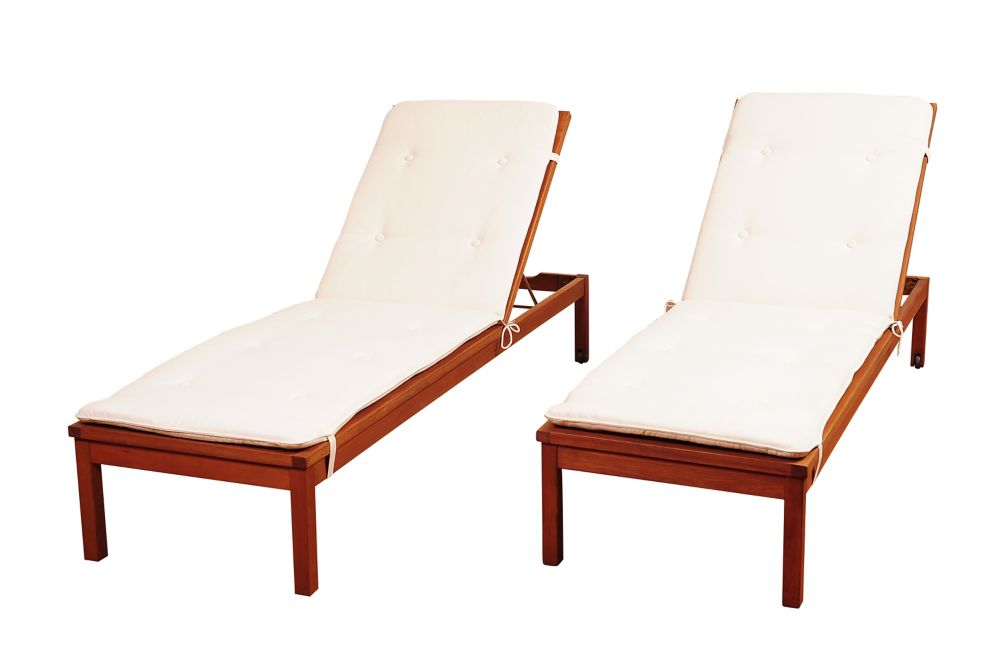 Amazonia Murano 2-Piece Eucalyptus Wheel Patio Lounger Set with White Cushions