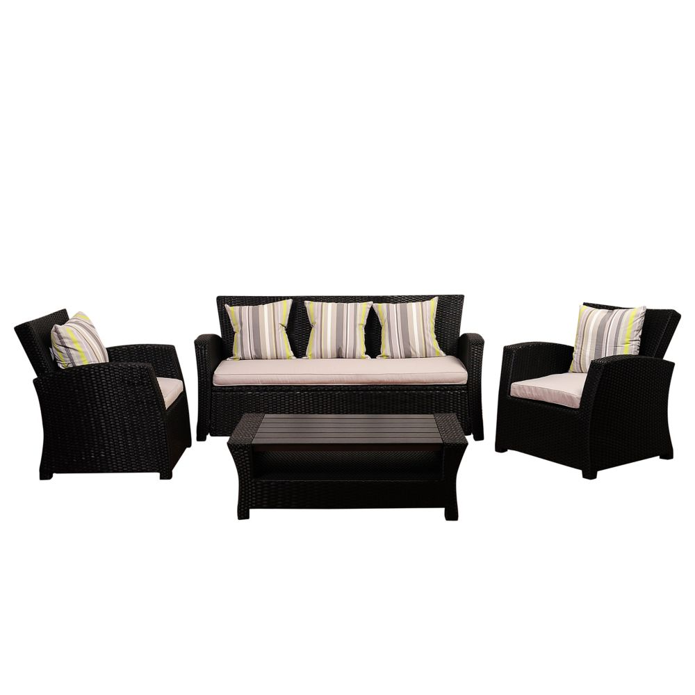 Amazonia Atlantic Bradley 4-Piece Black Synthetic Wicker Patio Seating Set with Light Grey Cushions
