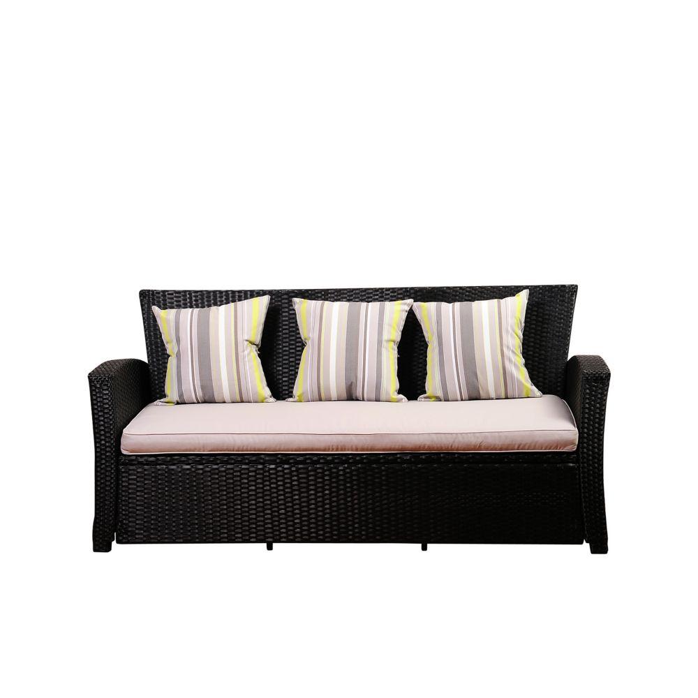 Ia Atlantic Bradley Black Synthetic Patio Wicker Sofa