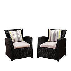 Amazonia Atlantic 2-Piece Bradley Black Synthetic Wicker Patio Armchair Set with Light Grey Cushions