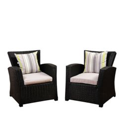 Amazonia Atlantic 2-Piece Bradley Black Synthetic Wicker Patio Armchair Set with Light Grey Cushions