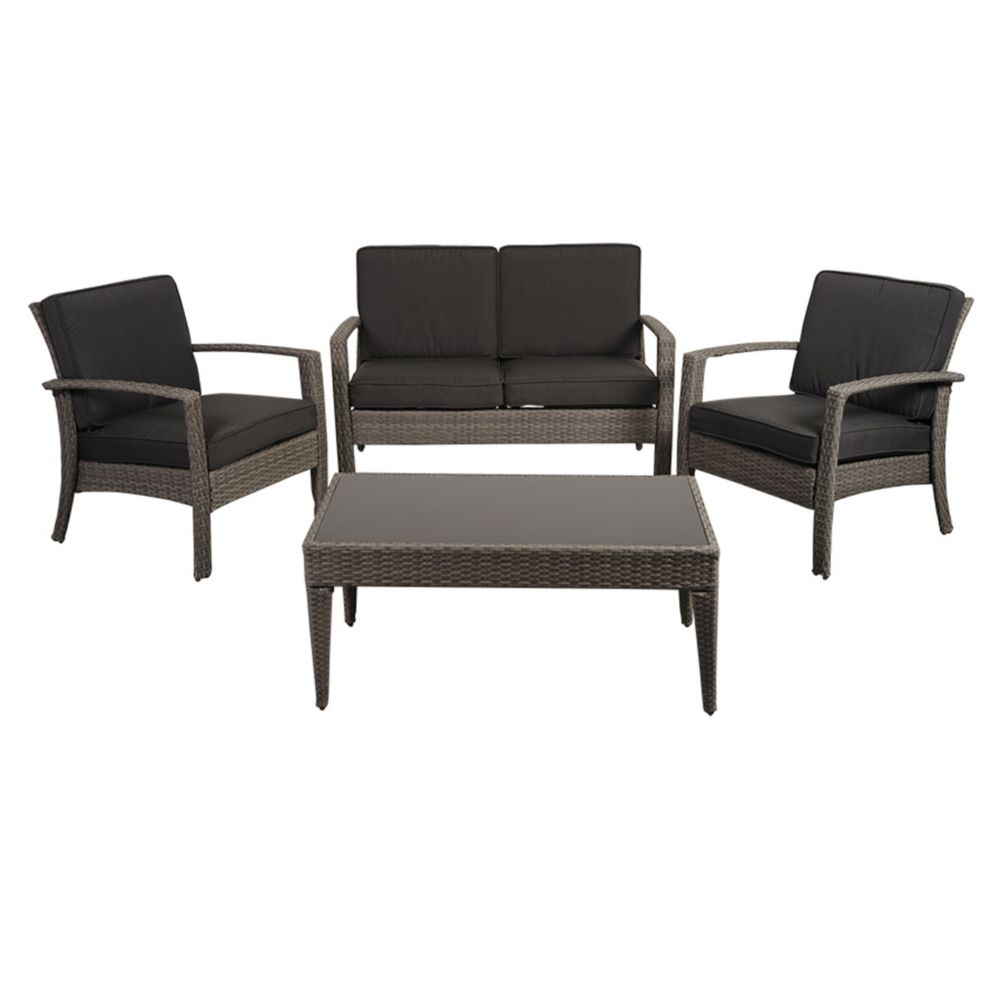 Amazonia Florida Deluxe 4-Piece All-Weather Wicker Patio Conversation Set with Gray Cushion