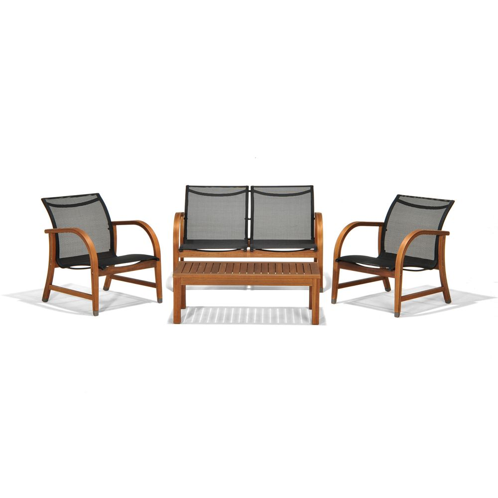 Amazonia Manhattan Eucalyptus 4-Piece Patio Deep Seating Set