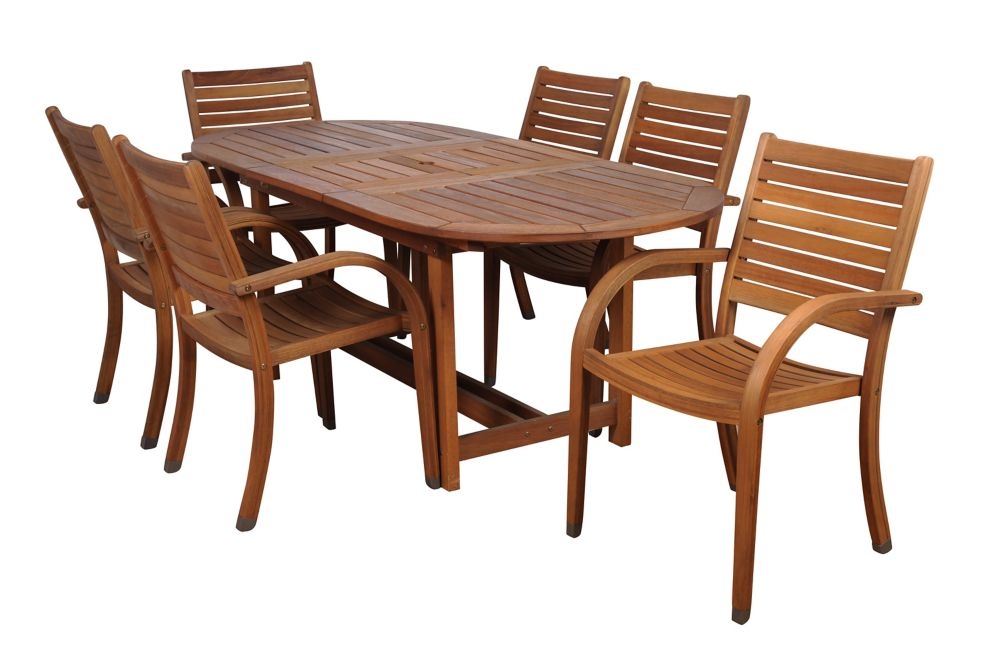 Amazonia Arizona Oval 7-Piece Eucalyptus Patio Dining Set