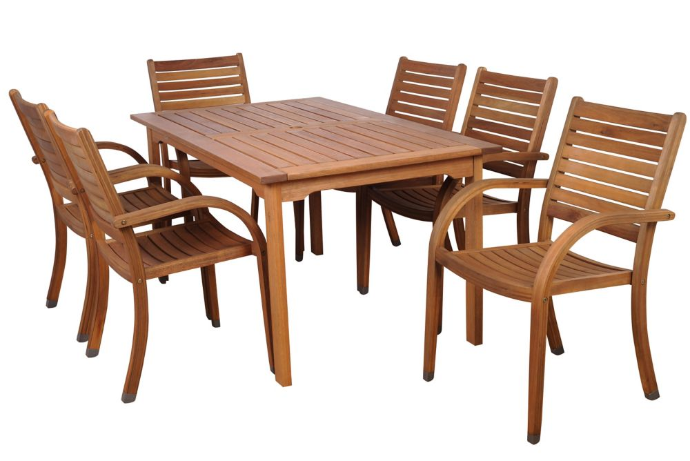 Amazonia Arizona Eucalyptus Wood 7-Piece Rectangular Patio Dining Set