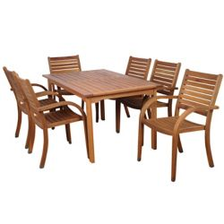 Amazonia Arizona Eucalyptus Wood 7-Piece Rectangular Patio Dining Set