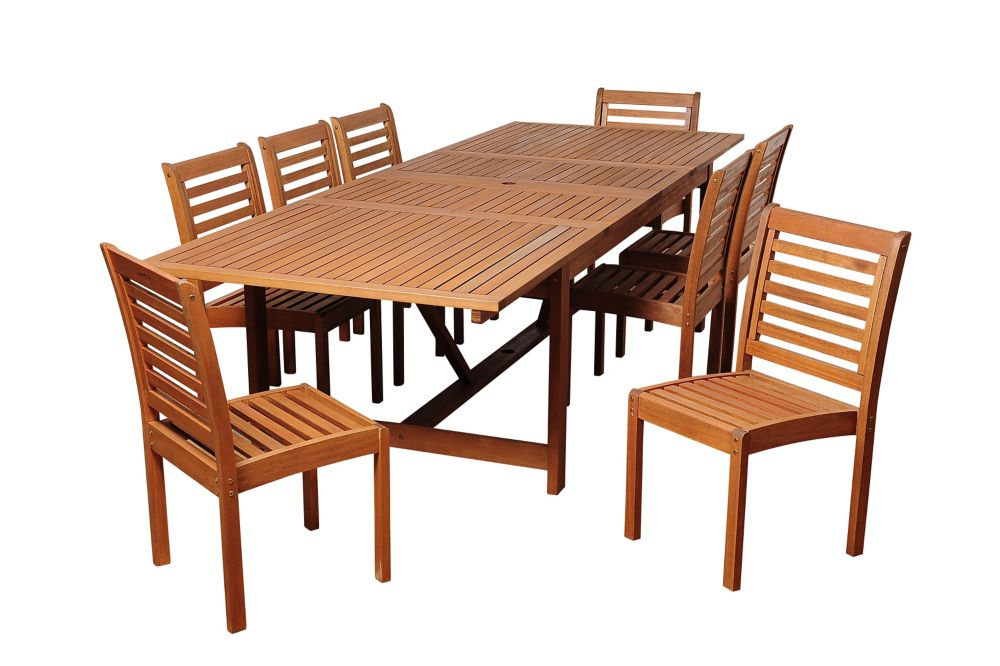 Amazonia Turner 9-Piece Eucalyptus Extendable Rectangular Patio Dining Set