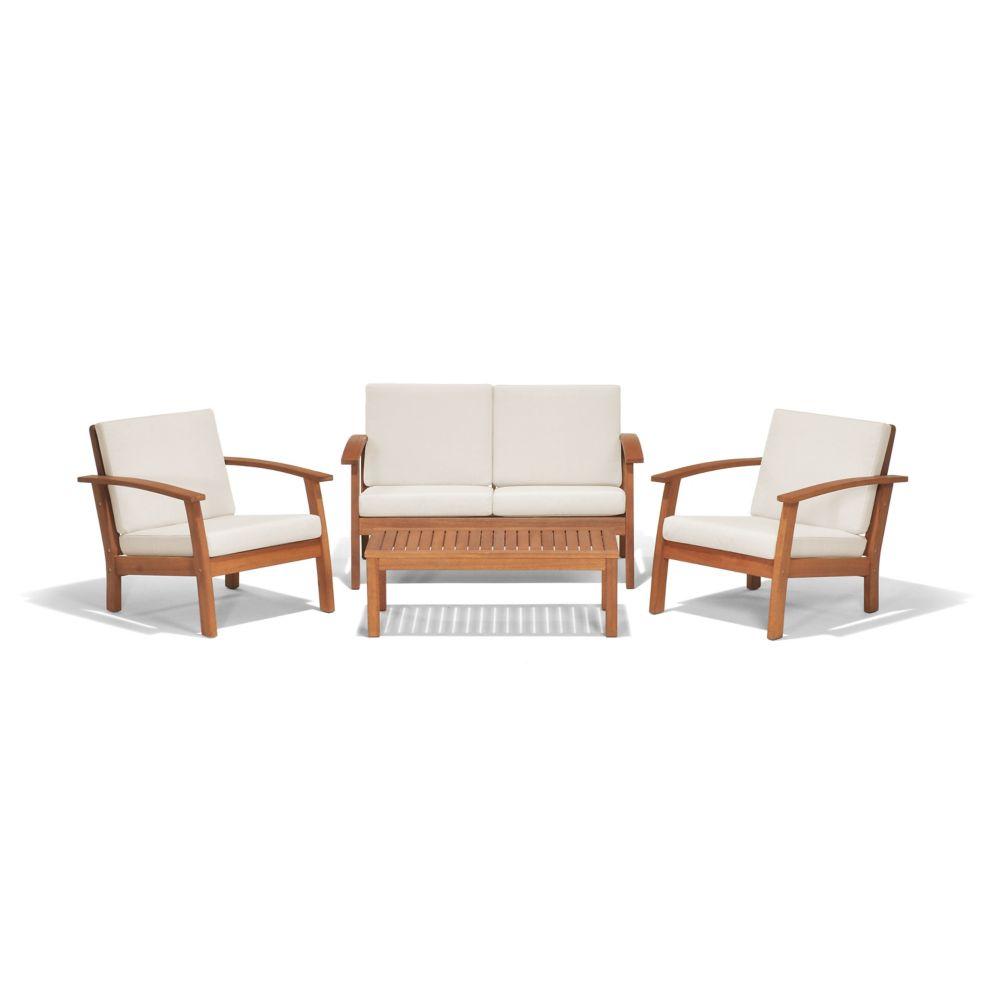 Amazonia Murano 4-Piece Eucalyptus Patio Conversation Set with Off-White Cushions