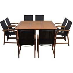 Amazonia Bahamas Square 9-Piece Eucalyptus Patio Dining Set
