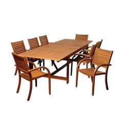 Amazonia Dylan Rectangular 9-Piece Eucalyptus Extendable Patio Dining Set