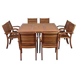 Amazonia Arizona Square 9-Piece Eucalyptus Patio Dining Set