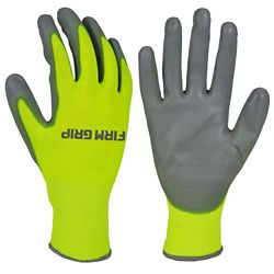 Firm Grip High Visibility PU Dipped Gloves with Touchscreen Compatibility (10 Pairs)