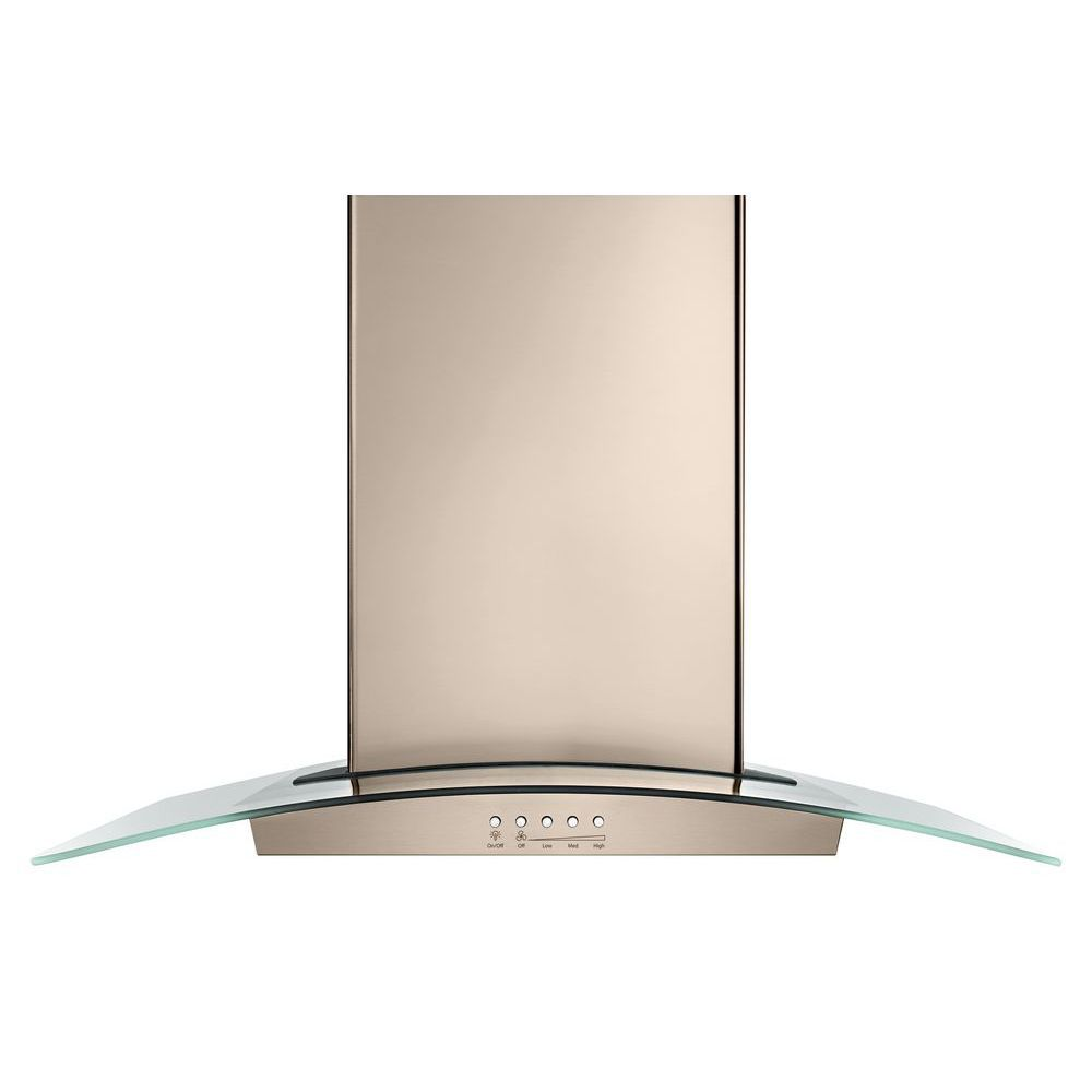 Whirlpool 30-inch Modern Glass Wall Mount Range Hood in Sunset Bronze