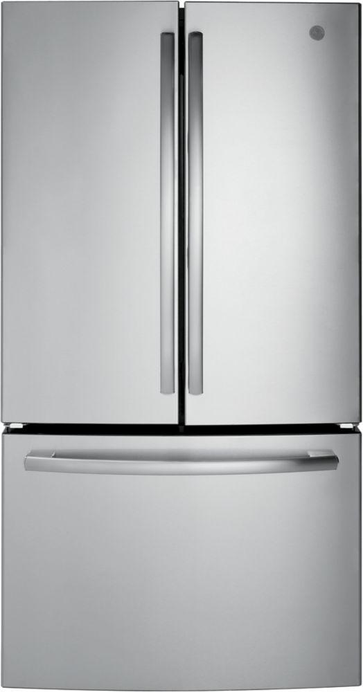 "GE 36"""" Bottom mount French door refrirator, 26.7 cu.ft - Stainless Steel - ENERGY STAR®"