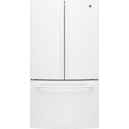 GE 36-inch W 27 cu. ft. Bottom mount French Door Refrigerator in White - ENERGY STAR®