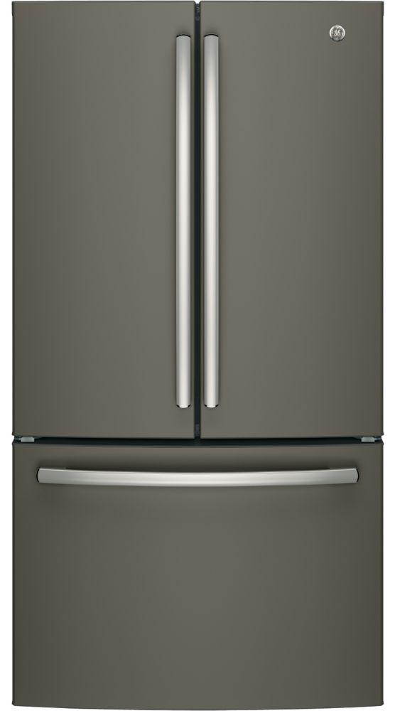 "GE 36"""" Bottom mount French door refrirator, 26.7 cu.ft - Slate - ENERGY STAR®"