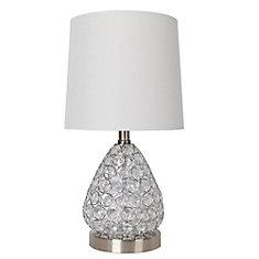 Lampe de table en acier brossé et cristal transparent 17