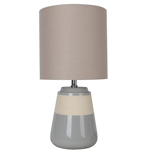 DSI Lighting 16 inch Grey Ceramic Table Lamp with Beige Fabric Shade