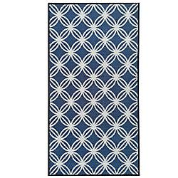 Lanart Rug Alicia 26 po x  49 po Petit tapis rectangulaire bleu marine