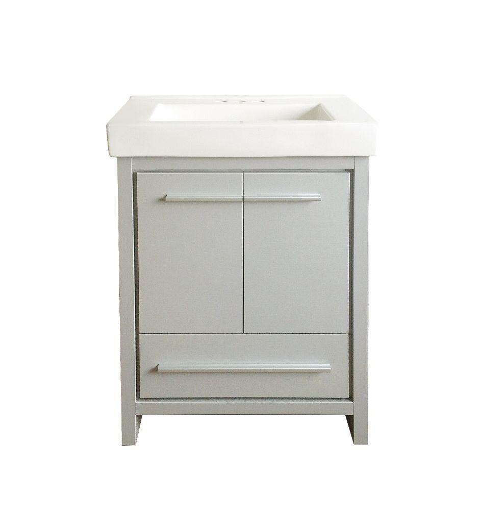 GLACIER BAY Romali 24-inch W x 14.2-inch D x 33.9-inch H Vanity in Grey with White Ceramic Top