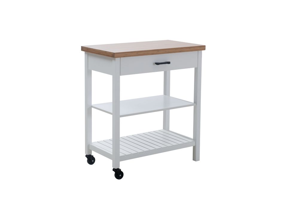 Hampton Bay Bedford 32-inch Kitchen Cart with Natural Wood Top