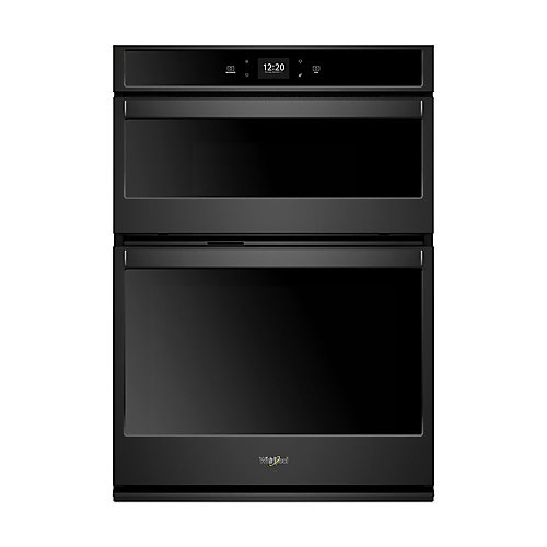 27-inch 5.7 cu. ft. Smart Double Electric Wall Oven & Microwave with Touchscreen in Black