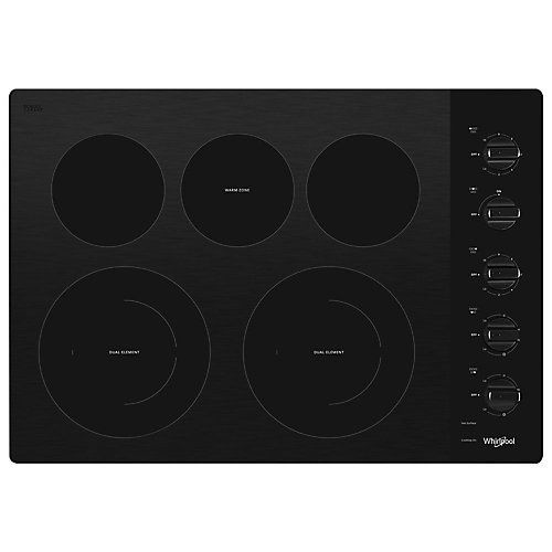 Table de cuisson électrique en vitrocéramique de 30 pouces en noir avec 5 éléments, dont 2 éléments à double rayonnement