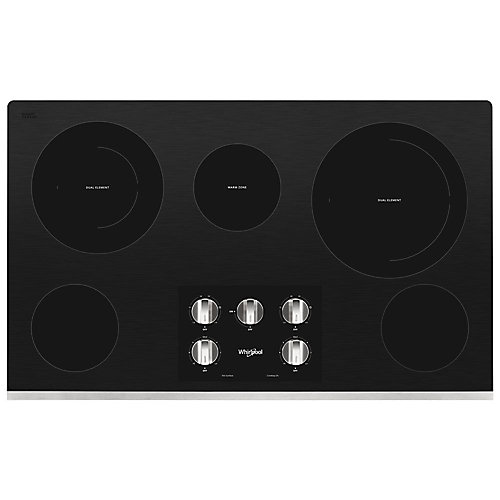 36-inch Electric Ceramic Glass Cooktop in Stainless Steel with 5 Elements including 2-Dual Radiant Elements