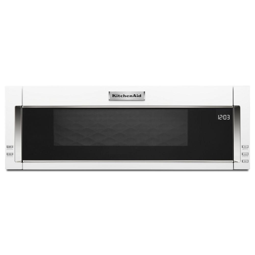 Hotte Avec Micro Onde Intégré 1.1 pi. cu. profil bas sur toute la gamme micro-ondes en blanc avec cuisson  par capteur