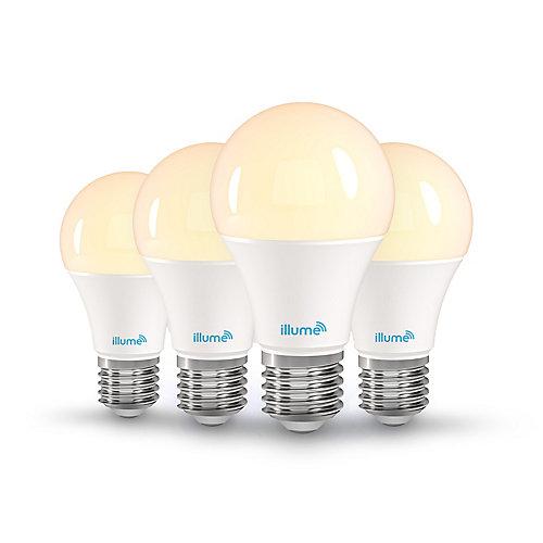 Ampoules intelligentes à DEL Multicolore et blancs purs A-19 8W RGB+W 750 Lumens (4/paq.)