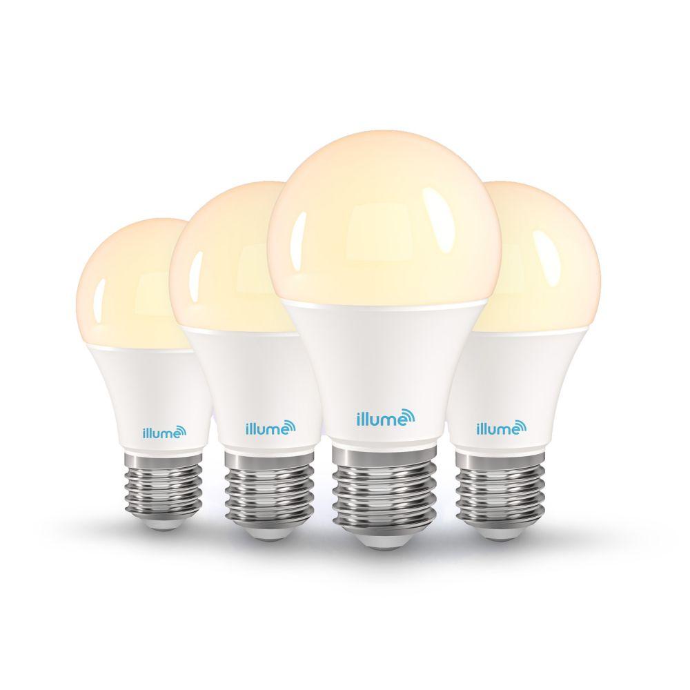 Illume 8W 750 Lumen LED Multi-Colour and Pure White A-19 Smart Bulb (4-Pack)