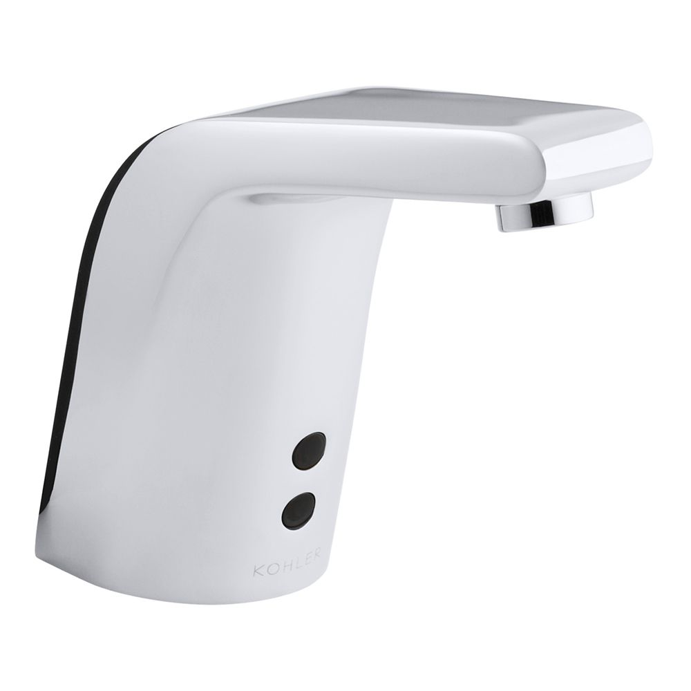 Sculpted single-hole Touchless(TM) AC-powered commercial bathroom sink faucet with Insight(TM) technology and 5-3/4 inch spout
