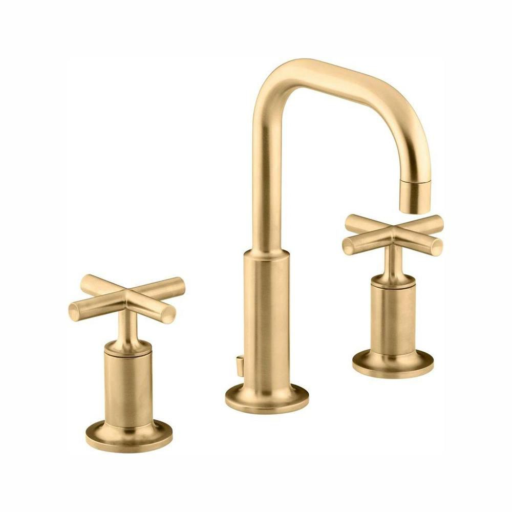Purist(R) widespread bathroom sink faucet with low cross handles and low gooseneck spout