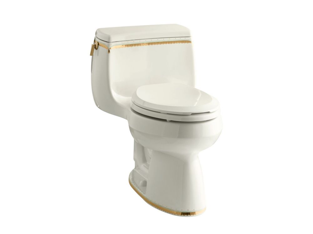 KOHLER Gabrielle Comfort Height 1-Piece 1.28 Gpf Single Flush Elongated Toilet With Prairie Flowers Design