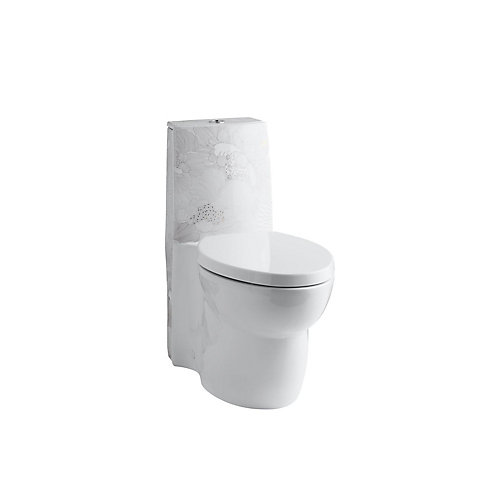 Empress Bouquet Design On Saile 1-Piece Elongated Dual-Flush Skirted Toilet In White
