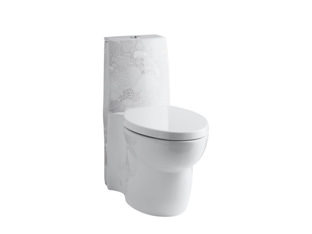 KOHLER Empress Bouquet Design On Saile One-Piece Elongated Dual-Flush Skirted Toilet In White