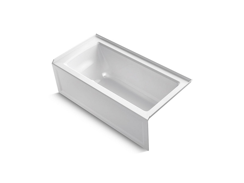 """Archer(R) 60"""" x 30"""" alcove bath with integral apron, integral flange and right-hand drain"""