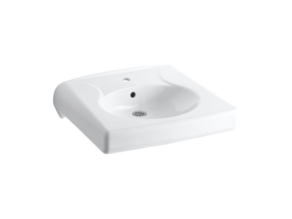 Brenham(TM) wall-mounted or concealed carrier arm mounted commercial bathroom sink with single faucet hole