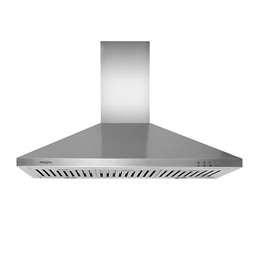 WPL 436 Pyramid 36 inch Pyramid style Range Hood in Stainless Steel with LED lights