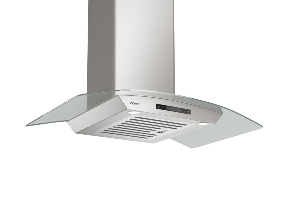 Ancona GCT436 36-inch Wall Mounted Glass Canopy Style Range Hood in Stainless Steel