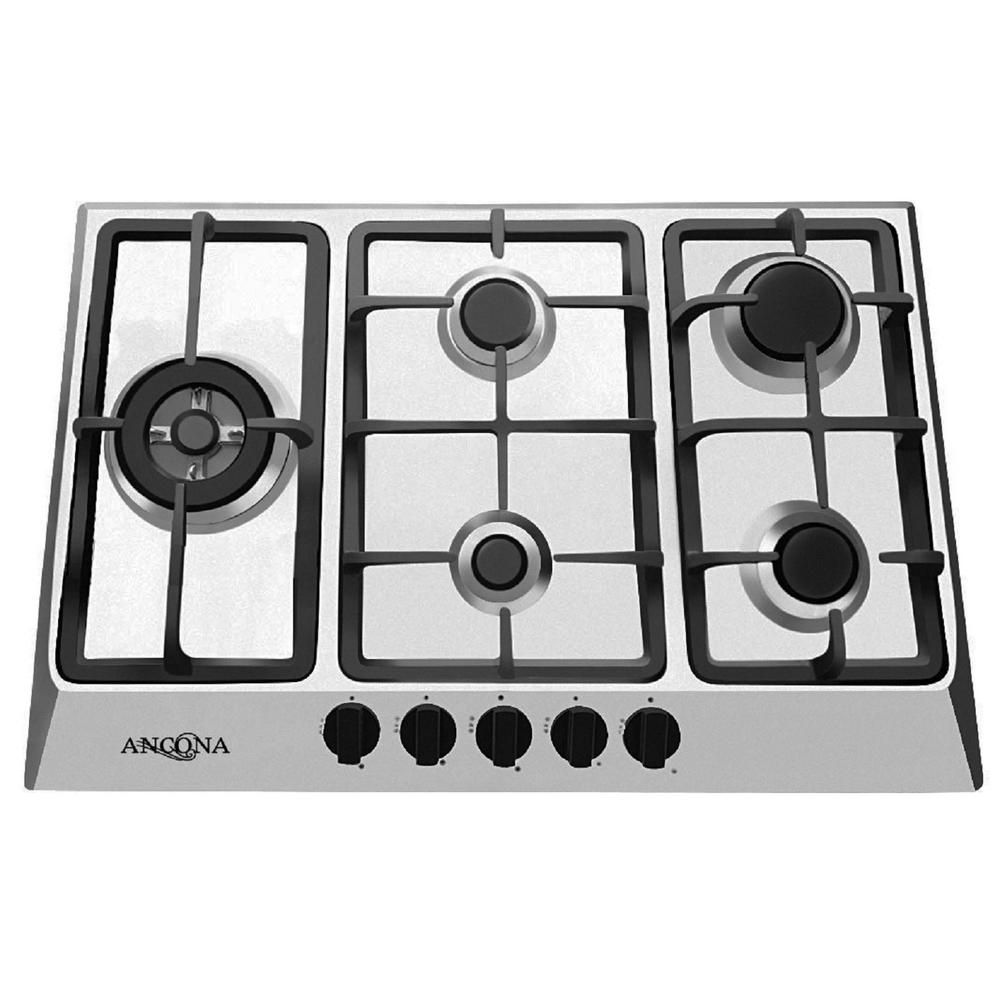 Ancona 30 inch Gas Cooktop in Stainless Steel with 4 Burners including Triple Ring Brass Power Burner