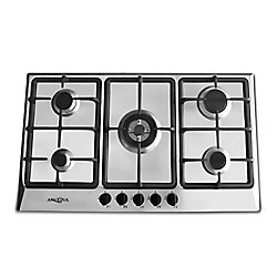 Ancona 34-inch Gas Cooktop in Stainless Steel with 4 Burners including Triple Ring Brass Power Burner