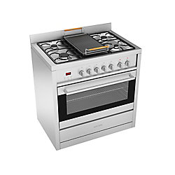 Ancona Gourmet 36-inch Freestanding Dual Fuel Range in Stainless with Cast Iron Griddle