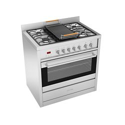 Ancona Gourmet 36 inch Freestanding Dual Fuel Range in Stainless with Cast Iron Griddle
