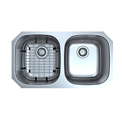 Ancona Capri Series Undermount Stainless Steel 32.3 inch 50/50 Double Bowl Kitchen Sink in Satin Finish