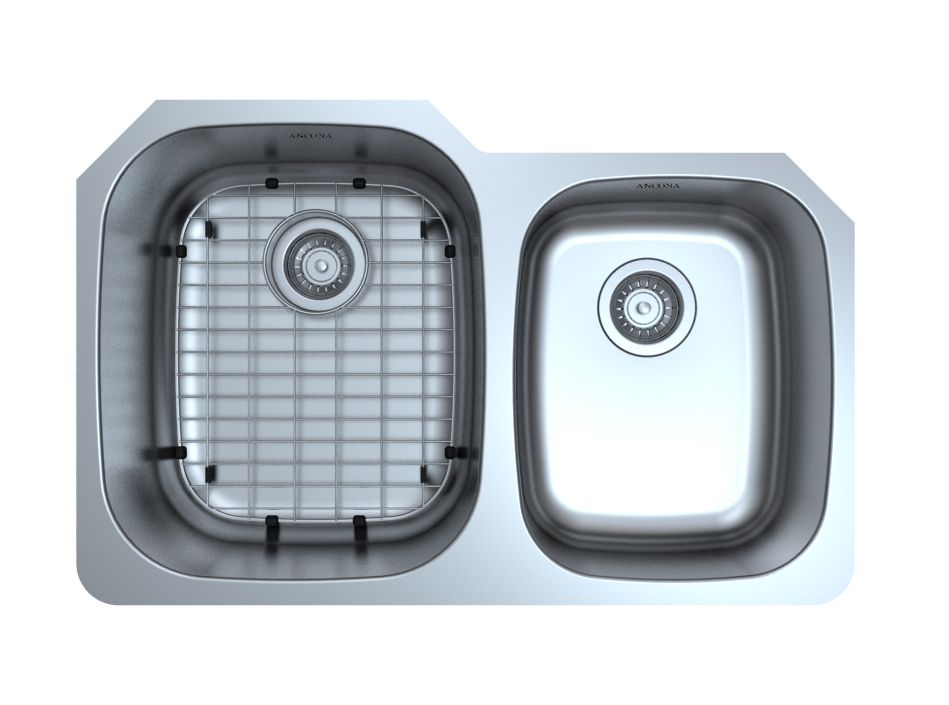 Ancona Capri Series Undermount Stainless Steel 31.75 inch 60/40 Double Bowl Kitchen Sink