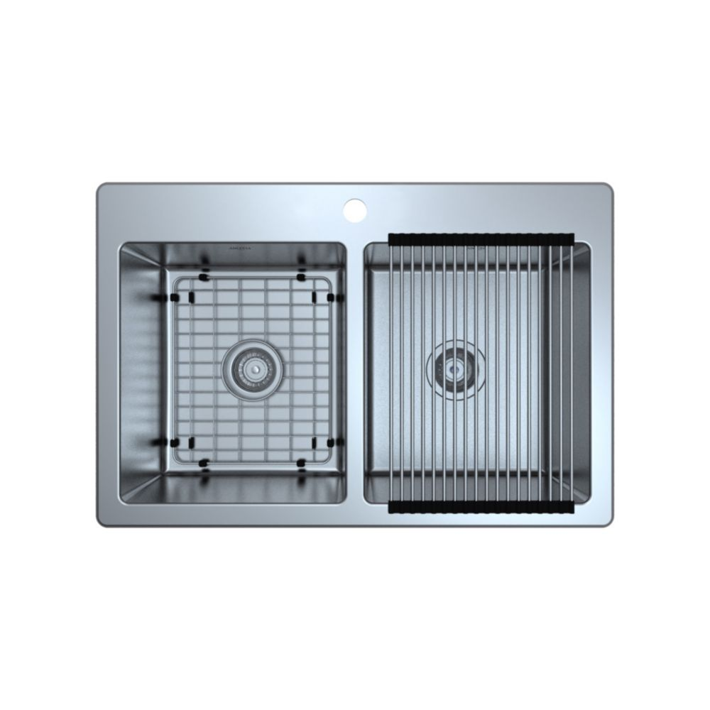 Ancona Valencia Series 33 inch Dual Mount Double Bowl Stainless Steel Sink