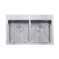Ancona Prestige Series Drop-in Stainless Steel 30 inch 1-Hole 50/50 Double Basin Kitchen Sink with Grids and Strainers
